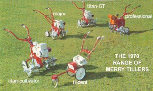 The 1970 range of Merry Tillers
